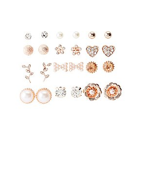 Crystal & Faux Pearl Stud Earrings 12 - Pack