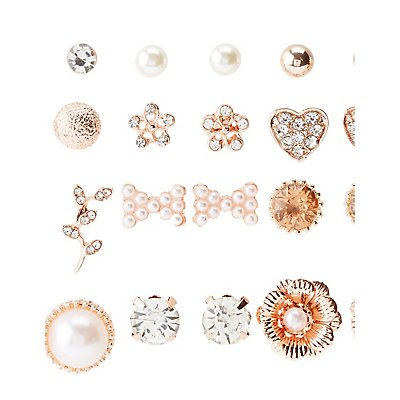 Crystal & Faux Pearl Stud Earrings 12 - Pack
