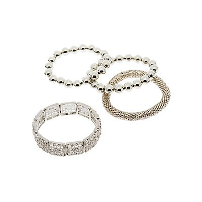 Crystal & Beaded Bangles - 4 Pack