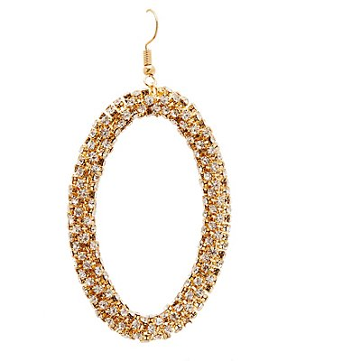 Crystal Oval Drop Earrings