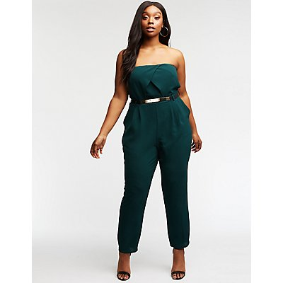 Plus Size Strapless Belted Jumpsuit