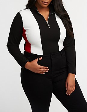 Plus Size Sporty Striped Zip Up Bodysuit