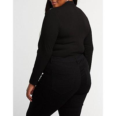 Plus Size Sporty Striped Zip Up Bodysuit