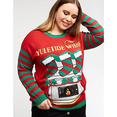 Plus Size Holiday Phone Pocket Sweater