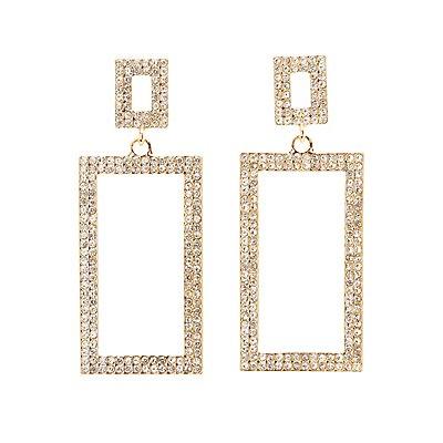 Crystal Rectangle Drop Earrings