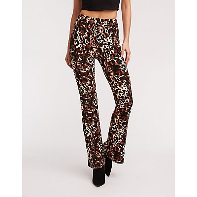 Leopard Print Flared Pants
