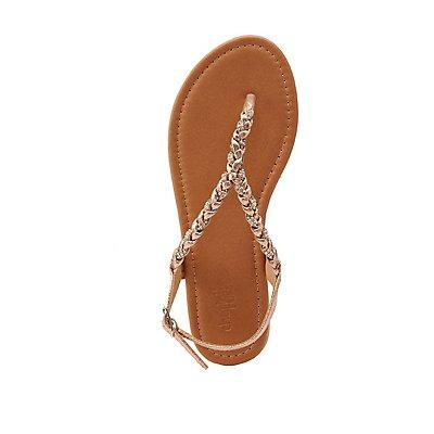 Crystal Braided Flat Sandals