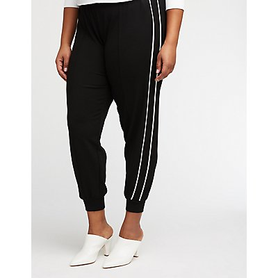 Plus Size Stripe Joggers