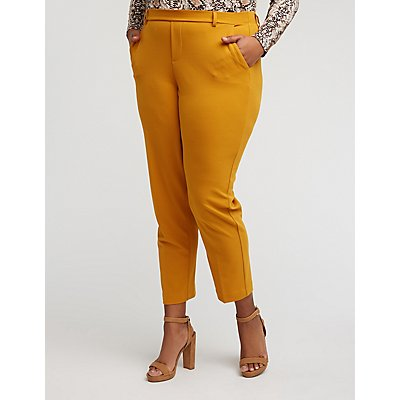 Plus Size Crepe Crop Trousers