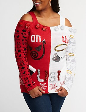 Plus Size Naughty Or Nice Cold Shoulder Sweater