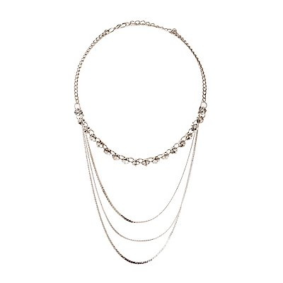 Crystal & Snake Chain Layered Necklace