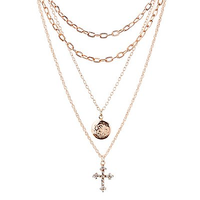 Cross & Locket Layered Necklace