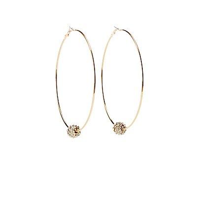 Crystal Pendant Hoop Earrings