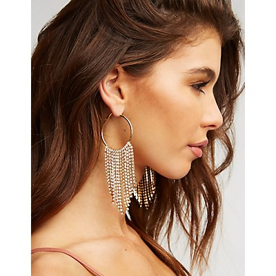 Crystal Fringe Hoop Earrings