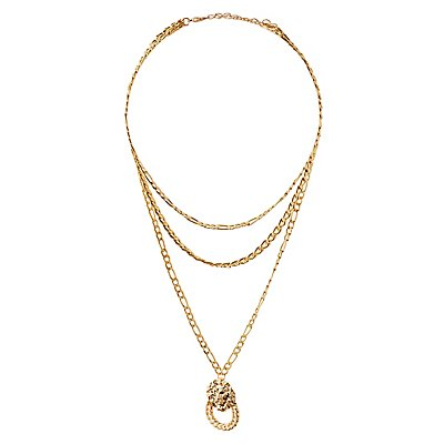 Lion Pendant Layered Necklace