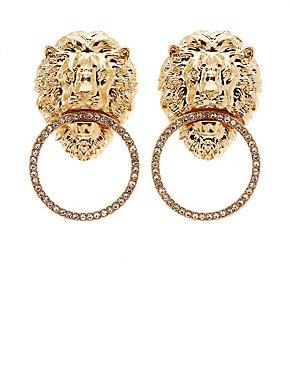 Lion Doorknocker Hoop Earrings
