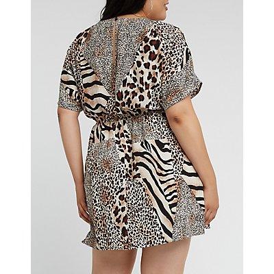Plus Size Mixed Animal Print Skater Dress