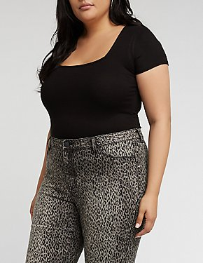 Plus Size Square Neck Bodysuit