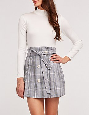 Glen Plaid Paper Bag Skirt