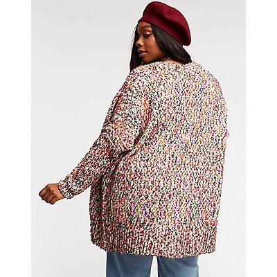 Plus Size Pom Pom Longline Cardigan