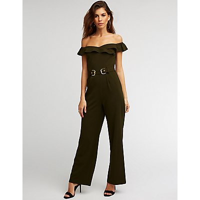Off The Shoulder Belted Jumpsuit