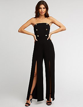 Strapless Double Breasted Jumpsuit