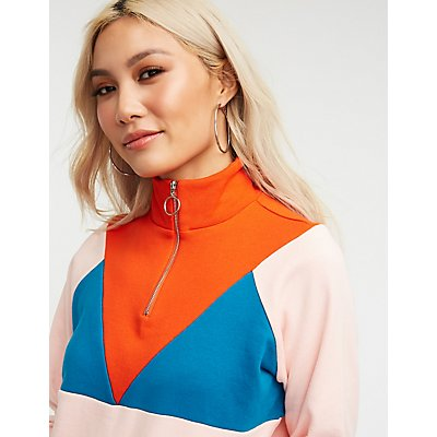 Colorblock Half Zip Sweater