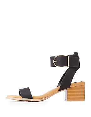 Faux Nubuck Ankle Strap Sandals