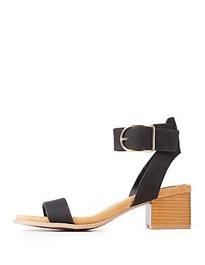 Faux Nubuck Ankle Strap Sandals