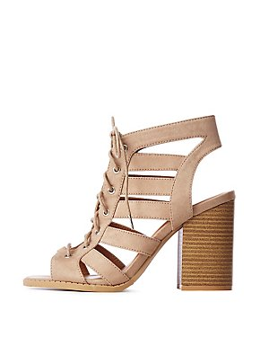Lace Up Caged Dress Sandals