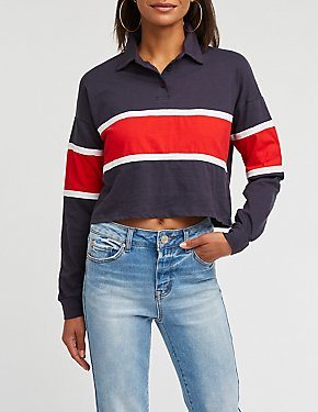 Colorblock Crop Polo