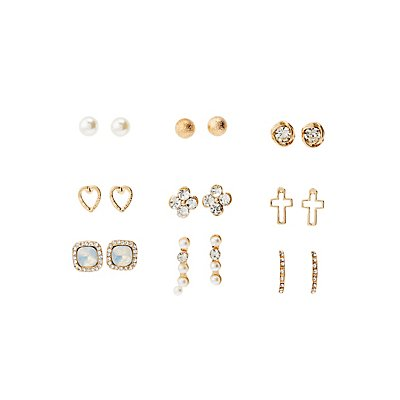 Assorted Stud Earrings - 9 Pack