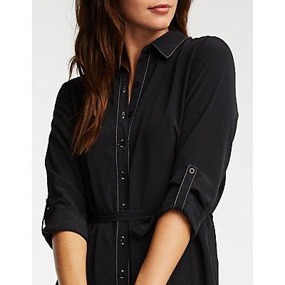 Button Front Self Tie Shirt Dress