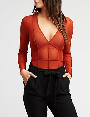 V Neck Mesh Bodysuit