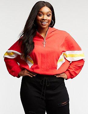 Plus Size Color Block Hooded Sweatshirt