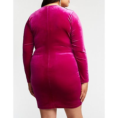 Plus Size Velvet Twist Bodycon Dress