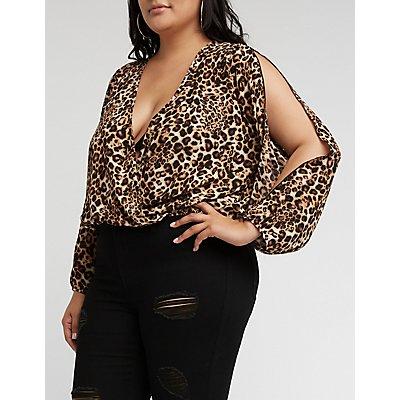 Plus Size Leopard Wrap Top