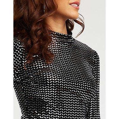 Mirror Sequin Velvet Bodysuit