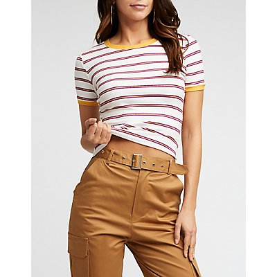 Striped Ribbed Ringer Tee