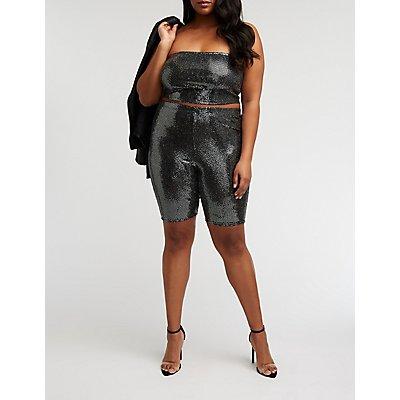 Plus Size Sequin Bike Shorts