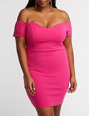 Plus Size Off The Shoulder Bodycon Dress