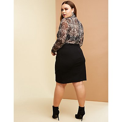 Plus Size Faux Snakeskin Mesh Bodycon Dress