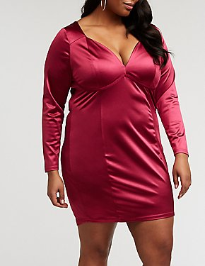 Plus Size Satin Underwire Bodycon Dress