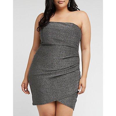 Plus Size Strapless Glitter Bodycon Dress