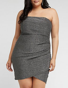 Plus Size Strapless Glitter Bodycon Dress