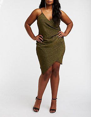 Plus Size Glitter Wrap Bodycon Dress