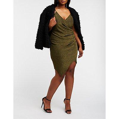 Plus Size Glitter Wrap Bodycon Dress