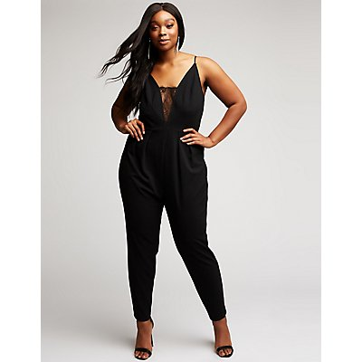 Plus Size Lace Inset Jumpsuit