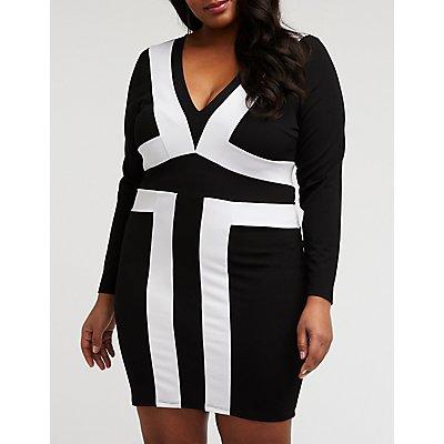 Plus Size Color Block Bodycon Dress