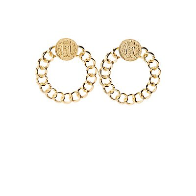 Coi Pendant Oval Chain Earrings